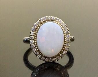 14K Yellow Gold Halo Diamond Opal Engagement Ring - Yellow Gold Art Deco Opal Diamond Wedding Ring - Halo Diamond Ring - Diamond Opal Ring