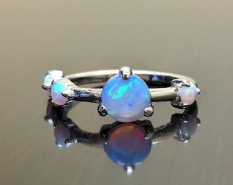 14K White Gold Opal Engagement Ring - 14K Gold Modern Opal Wedding Ring - 14K Gold Opal Ring - Modern Opal Ring - White Gold Opal Ring