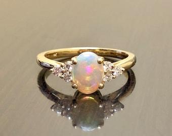 Art Deco 18K Yellow Gold Diamond Opal Engagement Ring - 18K Gold Opal Diamond Wedding Ring - 18K Diamond Opal Ring - Gold Opal Diamond Ring