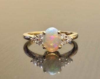 14K Yellow Gold Diamond Opal Engagement Ring - Art Deco Opal Diamond Wedding Ring - 14K Gold Diamond Opal Ring - 14K Gold Opal Diamond Ring
