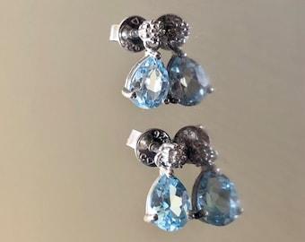Art Deco Diamond Pear Shape Blue Topaz Earrings - Blue Topaz Diamond Earrings - Diamond Blue Topaz Drop Earrings - Sterling Silver Earrings