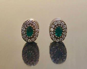 Emerald Earrings - Art Deco Earrings - Emerald Stud Earrings - Oval Emerald Earrings - Handmade Earrings - Halo Earrings - Emerald Studs