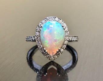 18K Halo Diamond Opal Engagement Ring - Art Deco 18K White Gold Opal Diamond Wedding Ring - Pear Shape Opal Diamond Ring - Diamond Opal Ring