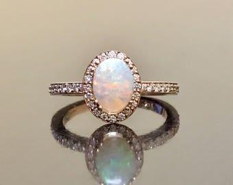 Rose Gold Opal Engagement Ring -  14K Art Deco Rose Gold Halo Opal Diamond Wedding Ring - 14K Rose Gold Opal Halo Diamond Ring - Opal Ring