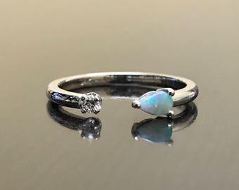 Diamond Opal Engagement Ring - 14K White Gold Opal Diamond Wedding Ring - 14K Diamond Opal Open Ring - Opal Diamond Ring - Gold Opal Ring