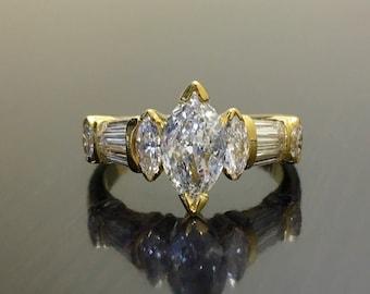 18K Yellow Gold Art Deco Marquise Diamond Engagement Ring - Art Deco 18K Gold Diamond Wedding Ring - Diamond Marquise Ring - Diamond Ring