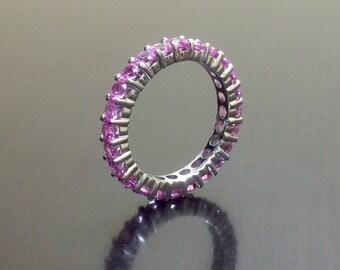 Eternity Band - Pink Zircon Band - Pink Zircon Eternity Band - Engagement Band - Pink Zircon Ring - Wedding Ring - Silver Eternity Band