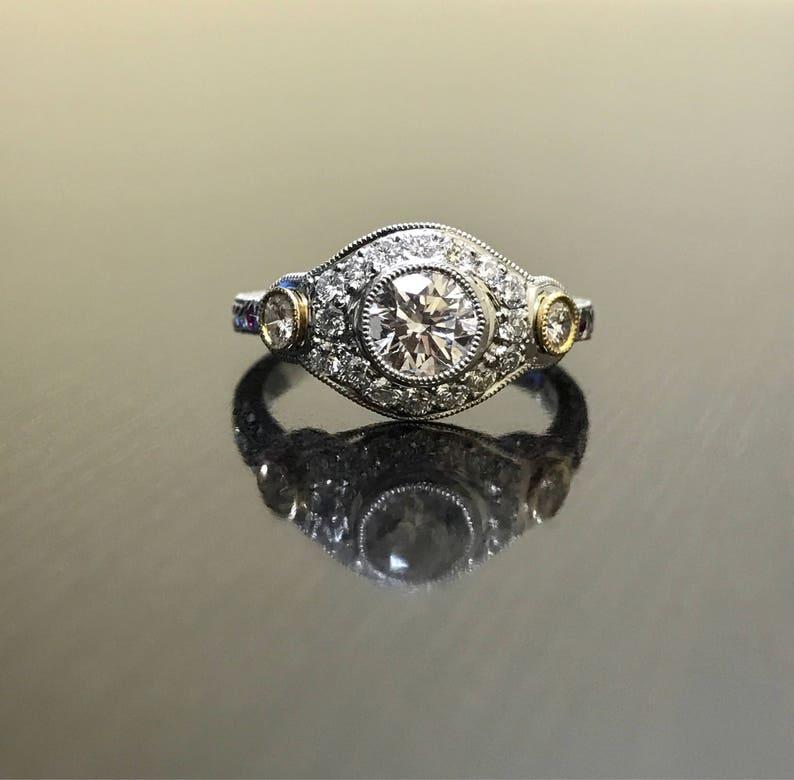 86894213b2a8 Art Deco platino 18K amarillo oro diamante anillo de