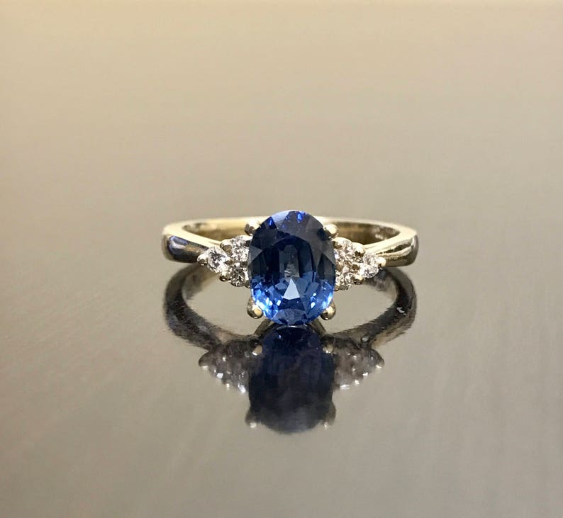 a86501b944685 14K Yellow Gold Diamond Sapphire Engagement Ring - Art Deco Sapphire  Diamond Wedding Ring - Ceylon Sapphire Ring - 14K Gold Diamond Ring