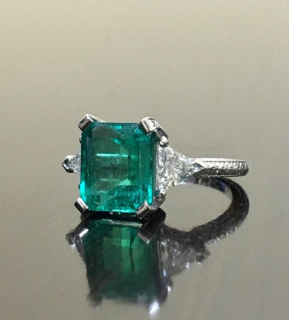 Platin Art Deco Diamant Smaragd Verlobungsring Art Deco Etsy