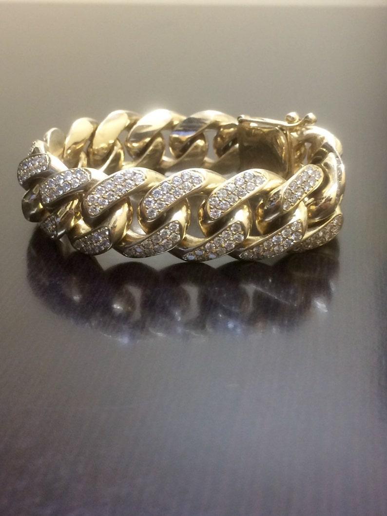 2e25905bfef7 14K amarillo oro Cuban Link diamantes 14K pulsera pulsera