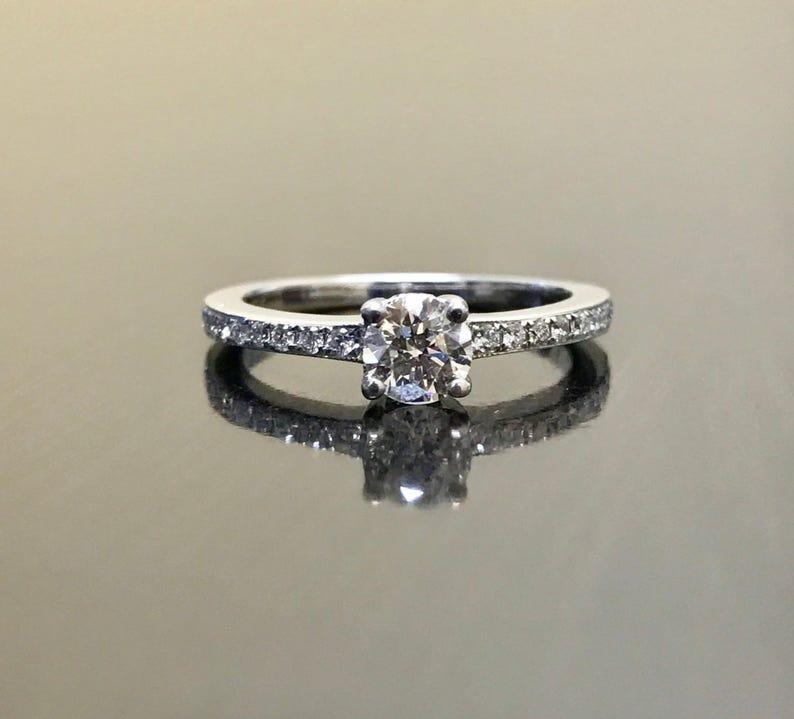 39e5db0add3 Bague de fiançailles diamant or blanc 18K 18K or Solitaire