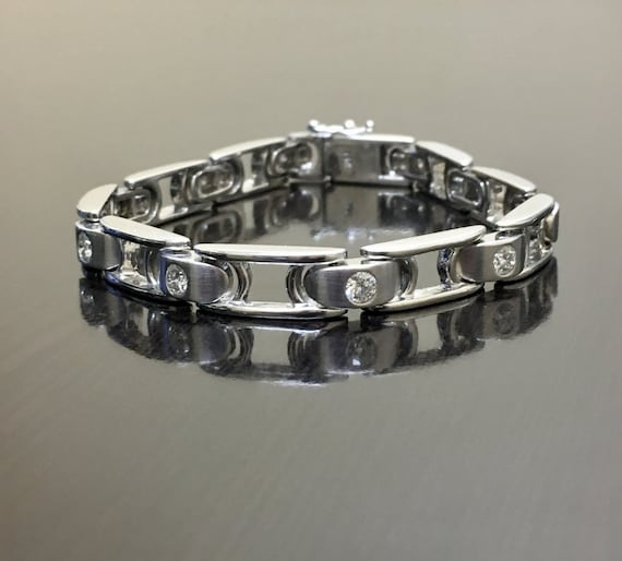 f92a38184cb 14K White Gold Diamond Men s Bracelet 14K Gold Men s