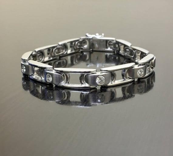14K White Gold Diamond Men s Bracelet 14K Gold Men s  50d6e8979