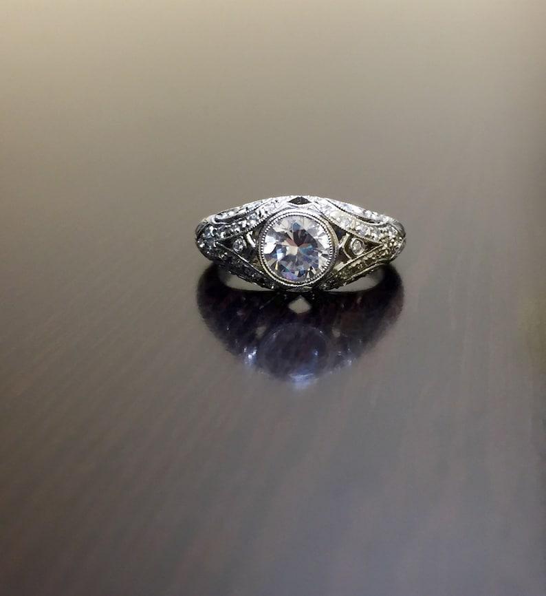 cf4e2e7c2674 Art Deco platino diamante anillo de compromiso anillo de