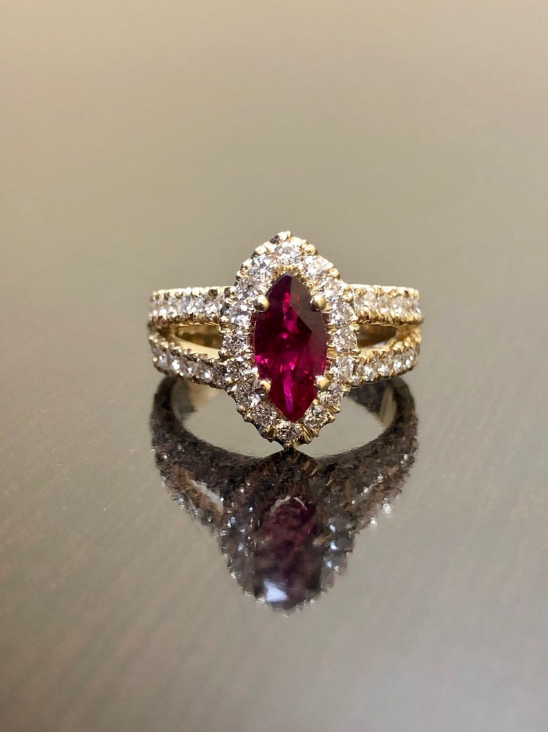 5207ecedc6b4 18K Yellow Gold Ruby Diamond Engagement Ring 18K Gold