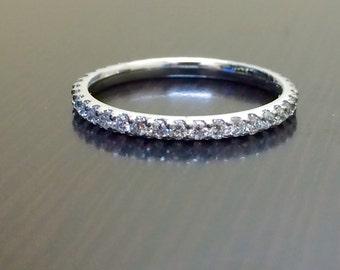 14K White Gold Eternity Diamond Engagement Band - 14K Gold Diamond Wedding Band - Eternity Band - Diamond Band - Diamond Ring - Wedding Ring