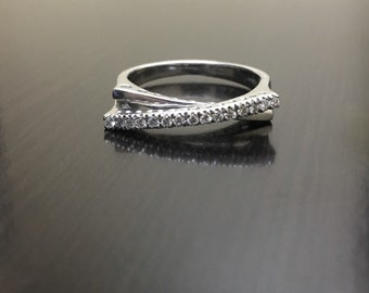 14K White Gold Diamond Engagement Band - 14K Gold Diamond Wedding Band - 14K Diamond Ring - 14K Diamond Band - Pave Diamond Band - Gold Band