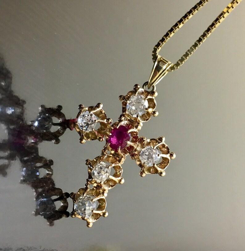 5cbca6b4a44a Art Deco Ruby Diamond Necklace Art Deco 14K Yellow Gold
