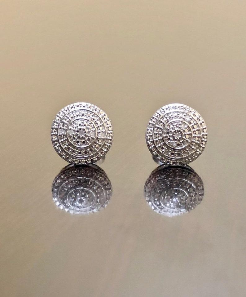 a488f20a2d797 Art Deco Diamond Earrings - Sterling Silver Diamond Stud Earrings - Diamond  Silver Earrings - Handmade Diamond Four Leaf Clover Earrings