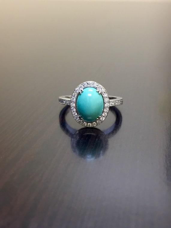 18K White Gold Diamond Turquoise Engagement Ring 18K Gold   Etsy