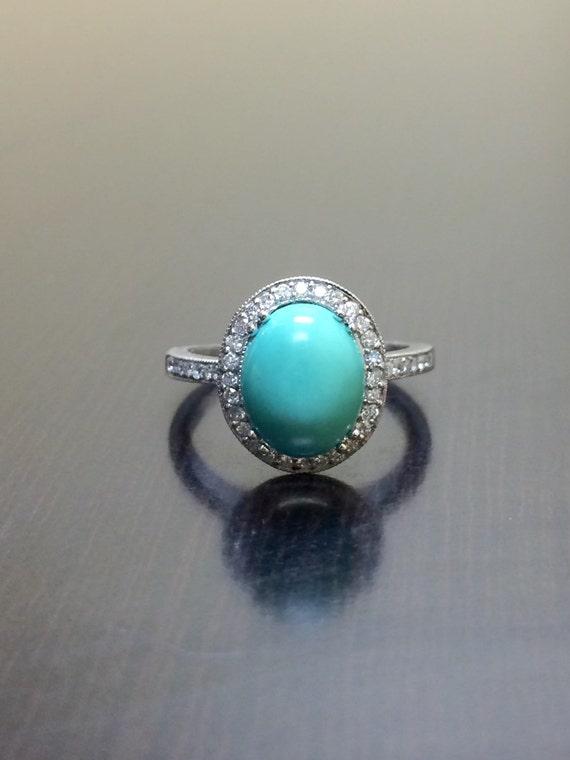 Turquoise Engagement Ring 14K White Gold Halo Diamond   Etsy