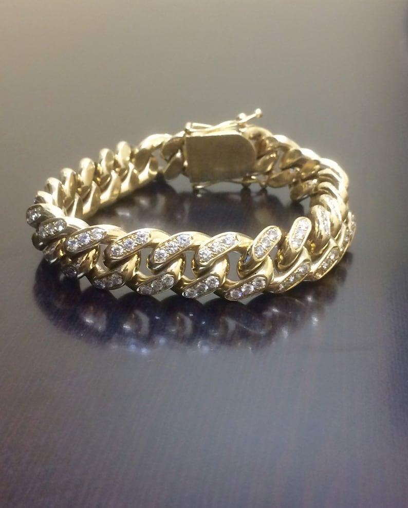 495915b569f58 14K Yellow Gold Cuban Link Diamond Bracelet - Men's Diamond Bracelet -  Diamond Link Bracelet - Diamond Pave Bracelet - Gold Link Bracelet