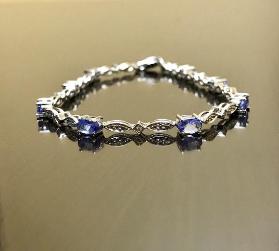 Tanzanite Marquis Clear Topaz Tennis Bracelet W//Earrings .925 Sterling Silver