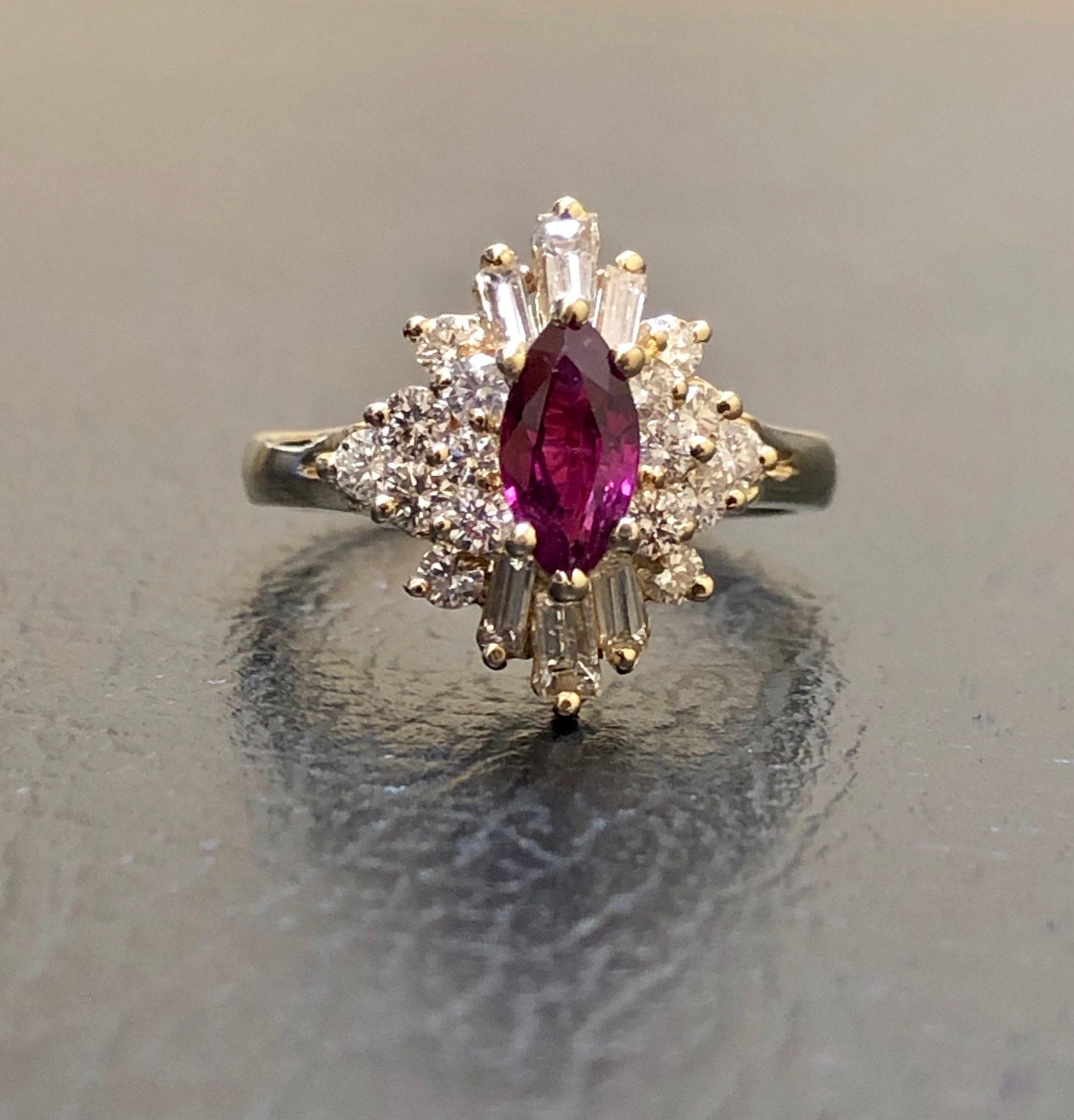 2Ct Red Ruby /& Diamond Men/'s Engagement Wedding Ring 14k Yellow Gold Finish