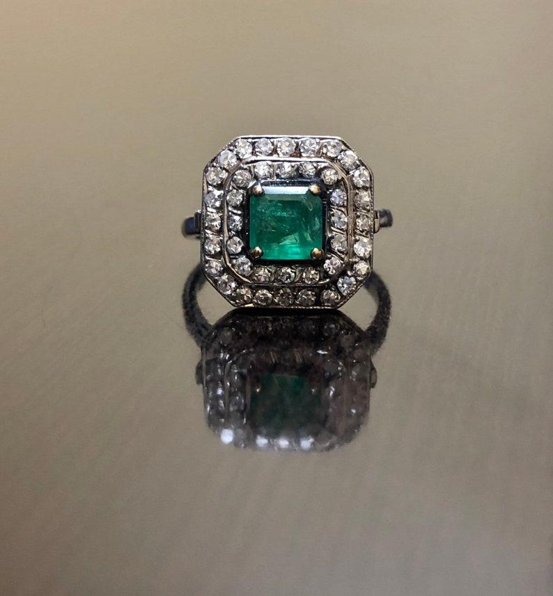 Art Deco Diamond Emerald Engagement Ring , 14K Gold Diamond Art Deco  Emerald Wedding Ring , Halo Diamond Emerald Ring , Emerald Diamond Ring