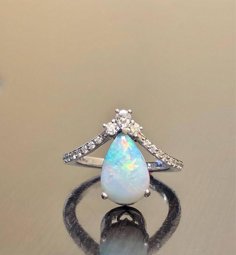 599b6fbfa60ad Art Deco 14K White Gold Diamond Pear Shape Opal Engagement Ring - 14K Gold  Art Deco Opal Diamond Wedding Ring - 14K Gold Diamond Opal Ring