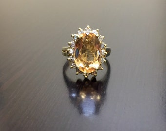 14K Yellow Gold Imperial Topaz Halo Diamond Engagement Ring - Art Deco 14K Gold Imperial Topaz Diamond Wedding Ring - Imperial Topaz Ring
