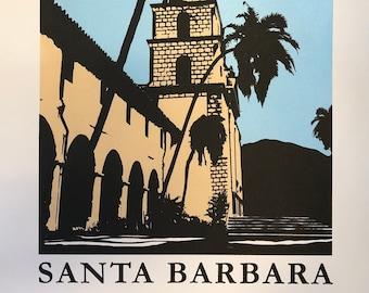Santa Barbara serigraph, hand pulled