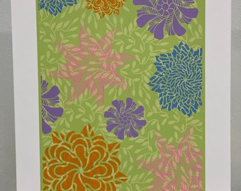"""Springtime - Serigraph - Hand screen printed and signed by the artist - Limited Edition - Image area 11.5"""" x 18"""" Colorful"""