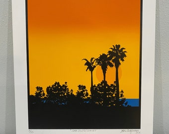 """San Diego Sunset - Serigraph, signed by the artist - Image area: 9"""" x 12"""""""