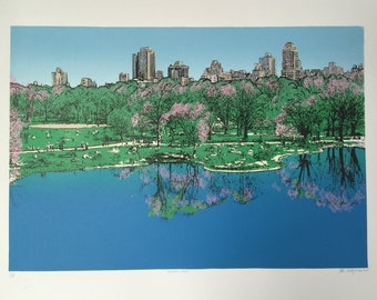 """New York Central Park (Serigraph) - 17"""" x 25"""" (screen print) Limited edition- signed by the artist (Starla Cortopassi)"""