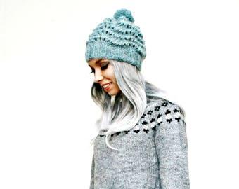 Knitted Hat - Icelandic Wool - Bobble Hat - Lopi - Pom Pom Hat