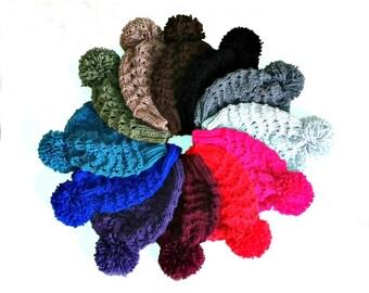 PDF Knitting Pattern - Vegan Hat - Beanie Hat - Bobble Hat - Pom Pom