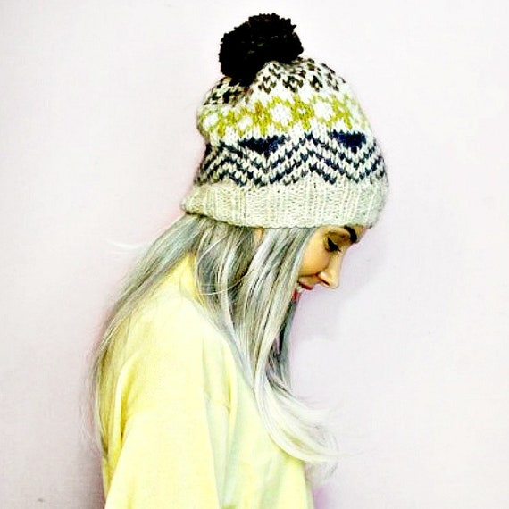 414d10436e5 Hand Knitted Hat Wool Bobble Hat Nordic Alafosslopi