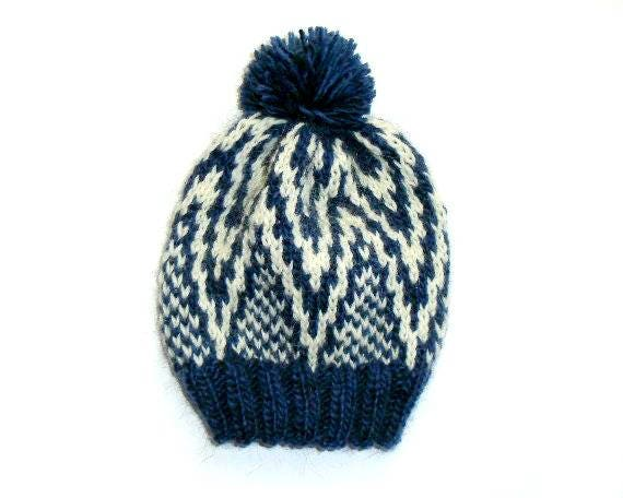 8eb2116b71a Hand Knitted Hat - Wool Bobble Hat - Alafosslopi - Nordic - Unisex