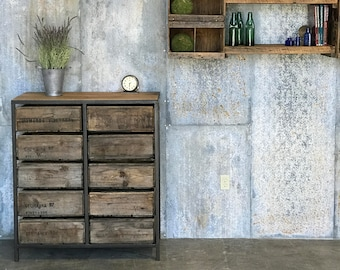 FREE SHIPPING - Tall Boy Dresser - 100+ yr old Barn Wood and Vintage Crates - Custom Crate Furniture