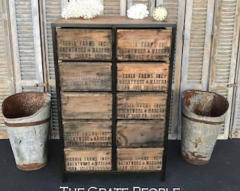FREE SHIPPING - ZORIA Tall Boy Dresser - 100+ yr old Barn Wood and Vintage Crates - Custom Crate Furniture