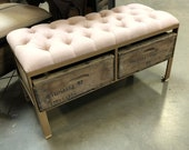 The Rosé Pink Linen Gold Frame Tufted Ottoman Bench - Custom Made Crate Furniture