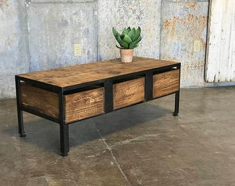 FREE SHIPPING Drawer Zoria Crate Coffee Table Vintage Etsy - Shipping crate coffee table