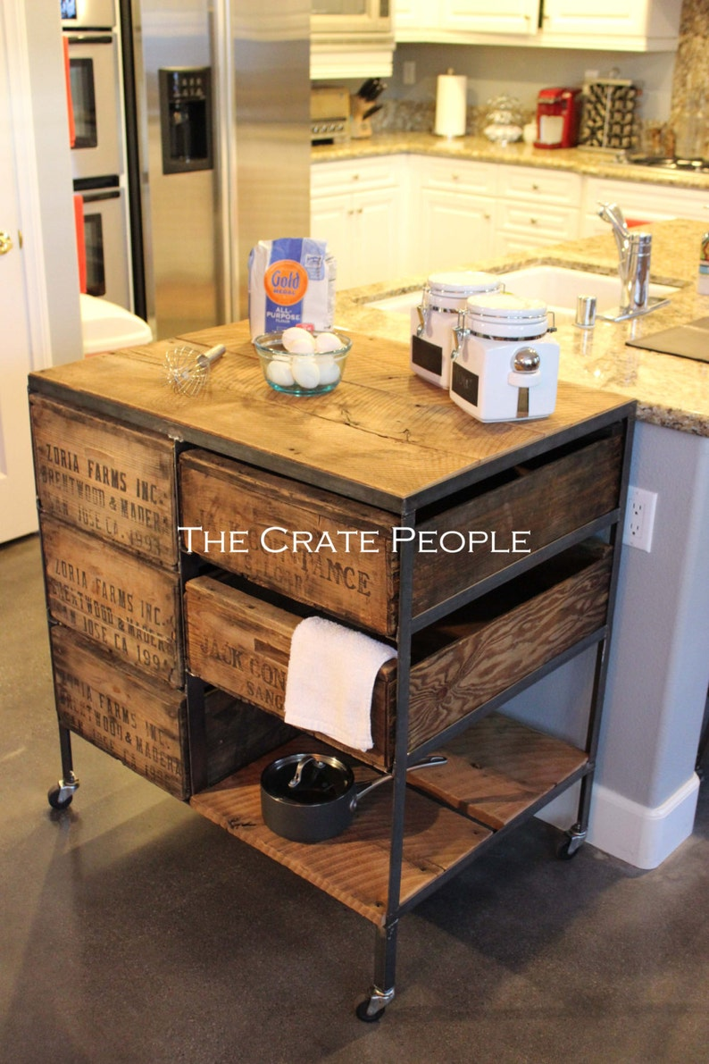 Kitchen Island | Vintage Crate Combo on Casters | Customizable Crate  Furniture