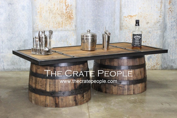 Free Shipping Whiskey Barrel Coffee Table Barrel Made Etsy