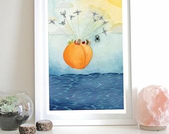 FRAMED James and the Giant Peach Wall Art Illustration Bugs Ocean Seagulls Flying Print Wall Art