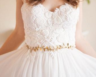 Delicate Leaf Sash, Wedding Sash, Bridal Belt, Gold Silver Leaf Sash, Leaf belt, Bridal sash, leaf belt, grecian, boho, wedding belt #401