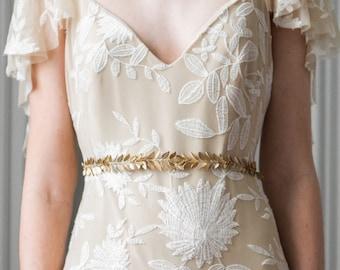 Laurel Leaf Sash, Gold sash, Wedding Sash, Bridal Belt, Leaf Sash, Leaf belt, Bridal sash, grecian, boho sash, Wedding belt, bohemian #400