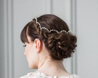 Scalloped Fresh Water Pearl Halo, Pearl Bridal crown, Pearl circlet, gold pearl halo, pearl bridal crown, bridal halo headband #137